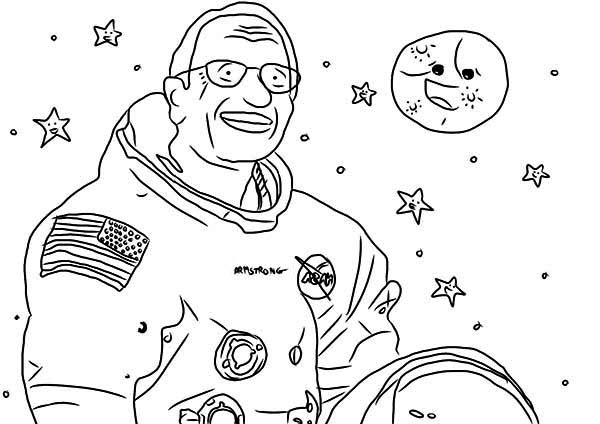 A Drawing Of Notable Astronaut Neil Armstrong Coloring