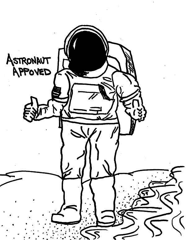 A Drawing Of An Astronaut In The Moon Surface Coloring