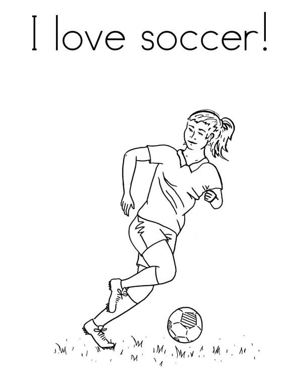 A Female Player In I Love Soccer Pamphlet Coloring Page