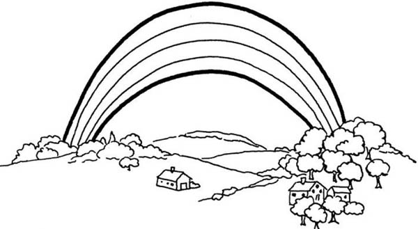 A Lovely View Of Rainbow Over The Plain Coloring Page