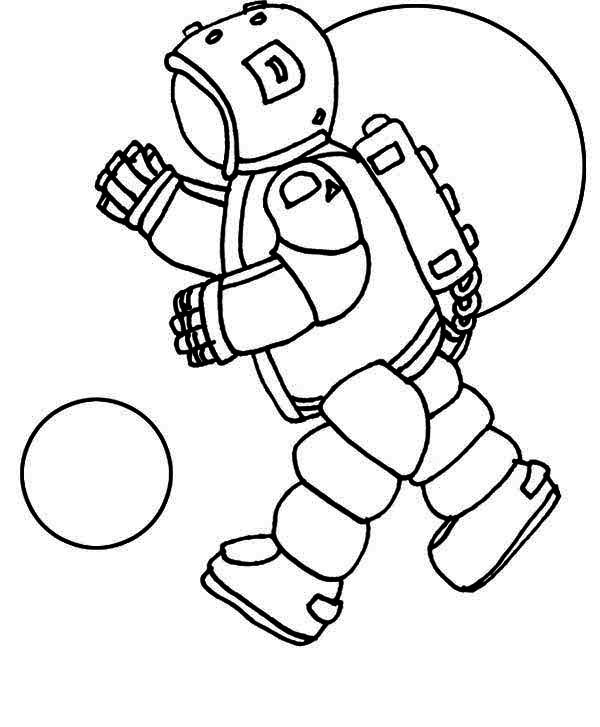 An Astronaut Doing A Space Walk On The Orbit Coloring Page