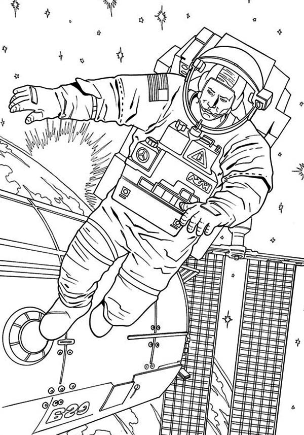 astronaut grabbing a star coloring page free printable - 600×857