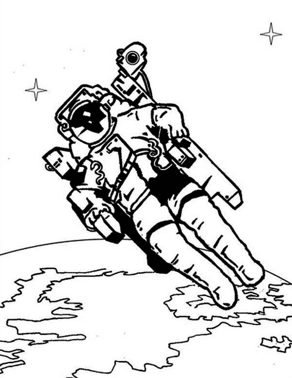 An Astronaut with His Space Chair in the Orbit Coloring