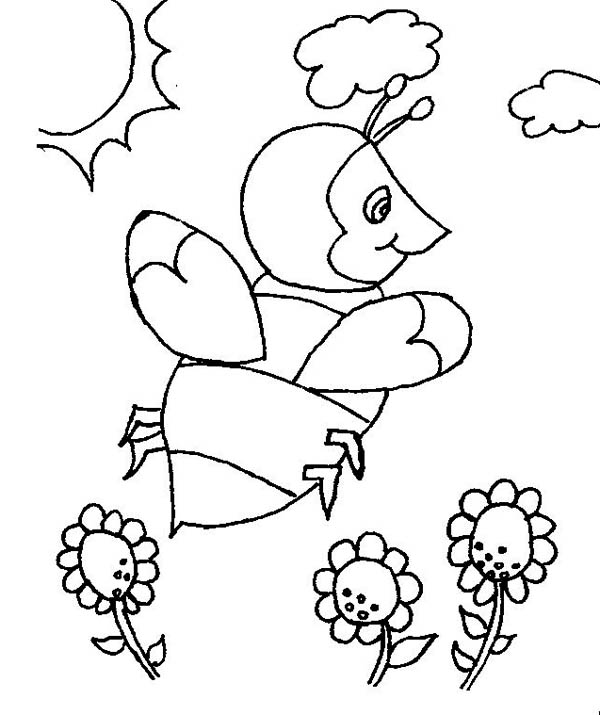 Bumblebee In The Open Field Of Flowers Coloring Page