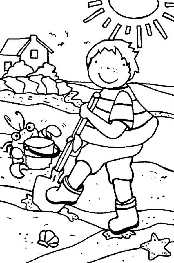 Cleaning The Beach Line During Summer Holiday Coloring