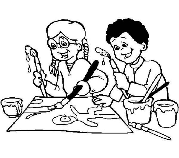 Doing An Art Class On First Day Of School Coloring Page