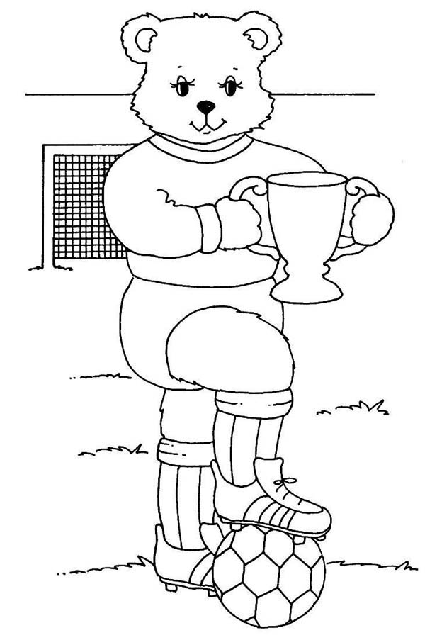 Mr Bear And His Trophy After Soccer Competition Coloring
