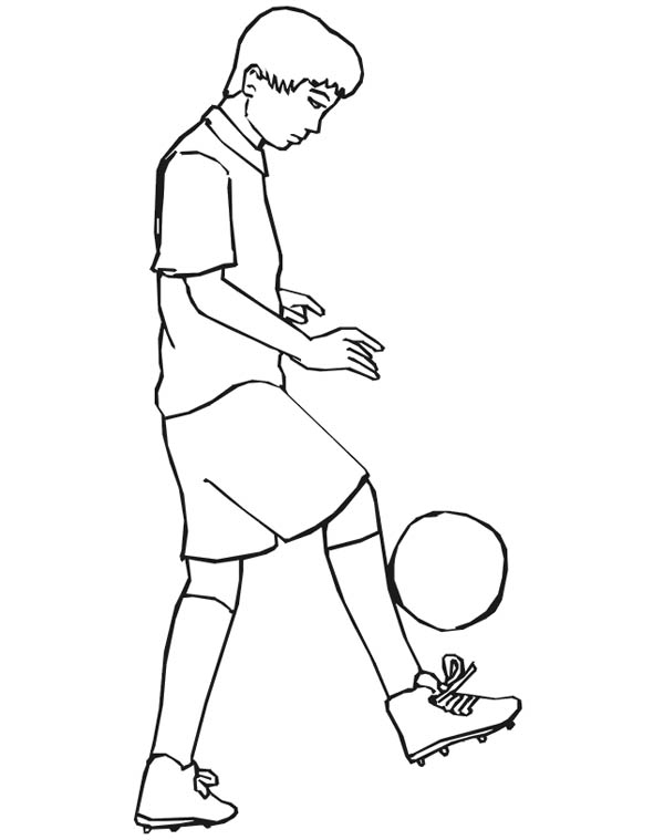 This Boy Practising His Ball Handling For Next Soccer Game