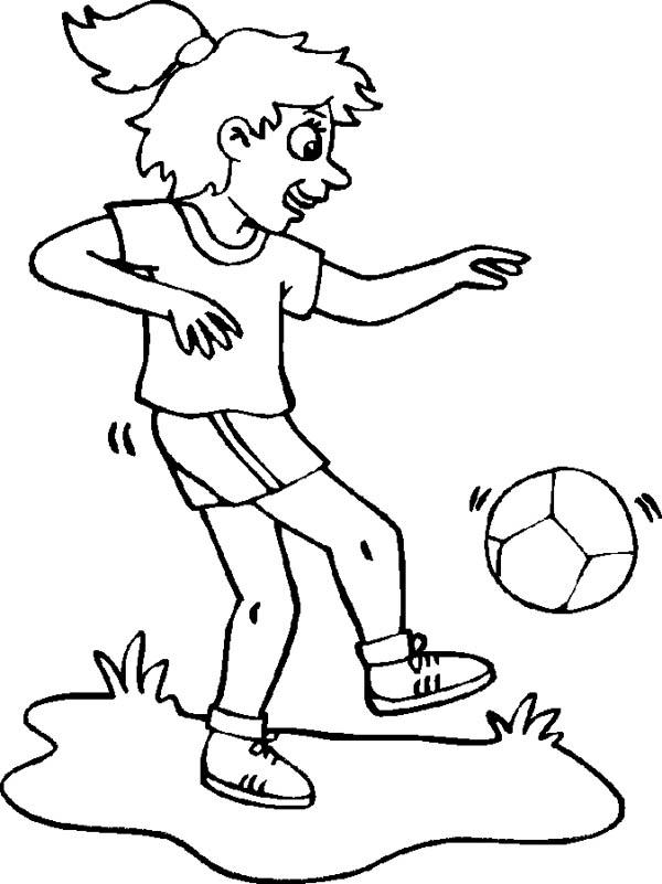 This Girl Is Practising Her Ball Handling For Soccer Game