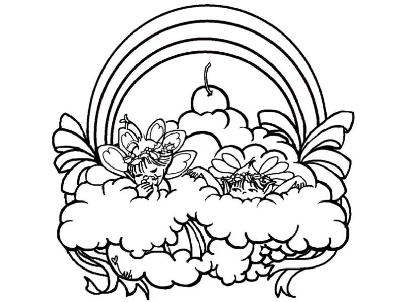 Two Fairies Playing Over the Rainbow Coloring Page