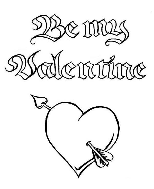 Be My Valentine, a Magic Word on Valentine's Day Coloring