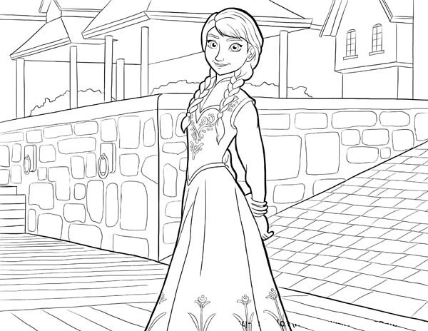 Beautiful Anna From Disney Movie Frozen Coloring Page