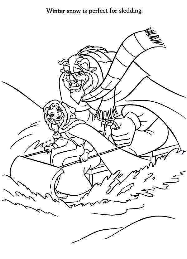 Belle And The Beast Playing The Slide Coloring Page