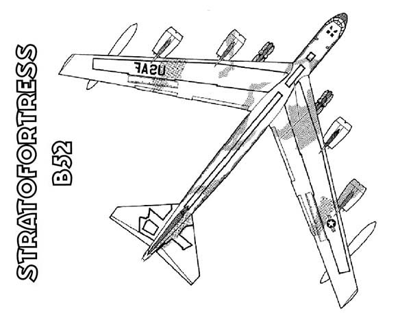 Boeing Bomber B 52 Stratofortress Airplane Coloring Page