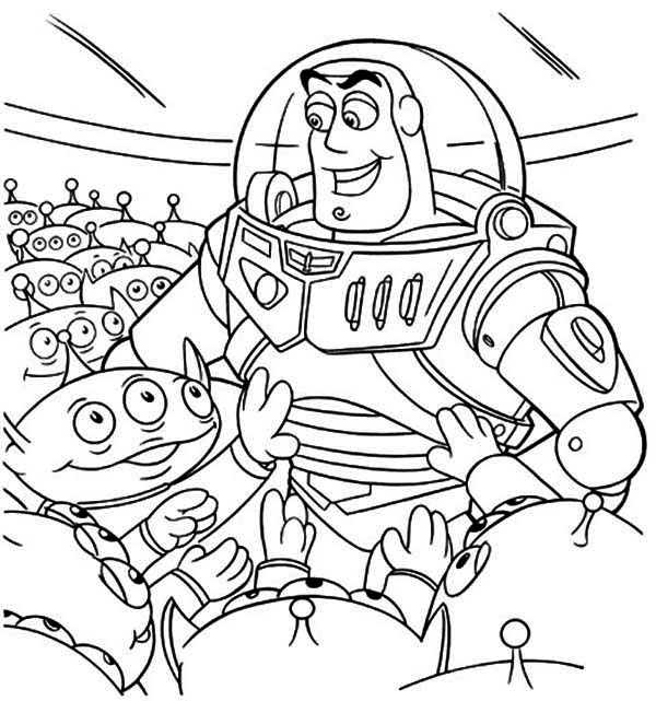 Buzz And A Bunch Of Little Green Men In Toy Story Coloring