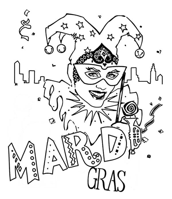 Celebarting The Mardi Gras Festival Coloring Page