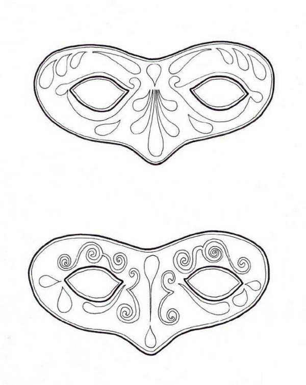Couple Of Mask To Wear On Mardi Gras Coloring Page