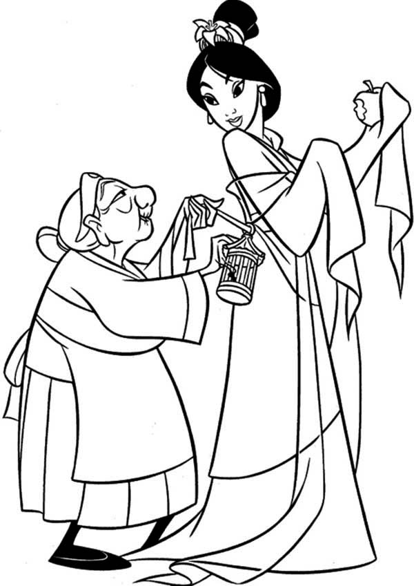 Grandmother Fa Helps Mulan Getting Dressed Coloring Page