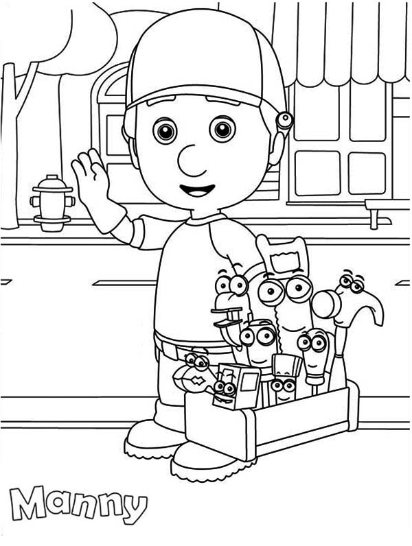 Handy Manny and Friends Around the Town Coloring Page