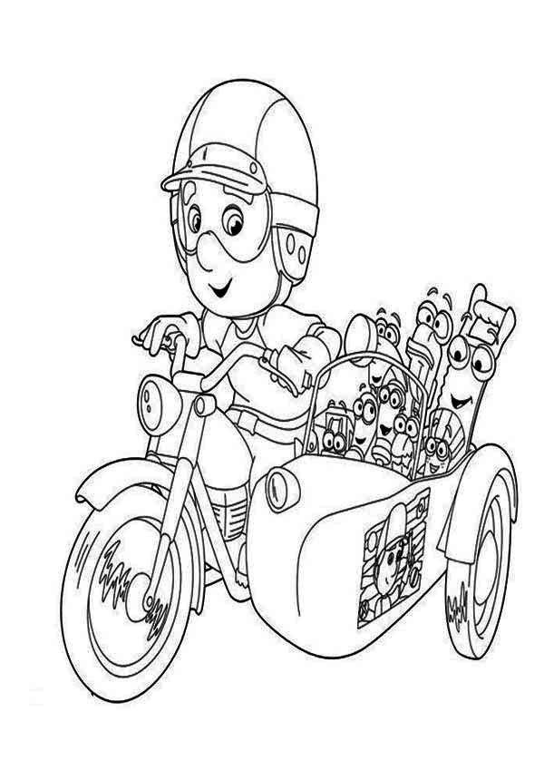 Handy Manny With Friends Riding Bike Coloring Page