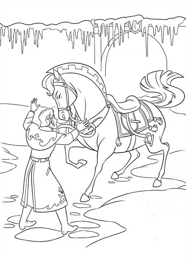 Hans is Trying to Settle the Horse Down Coloring Page