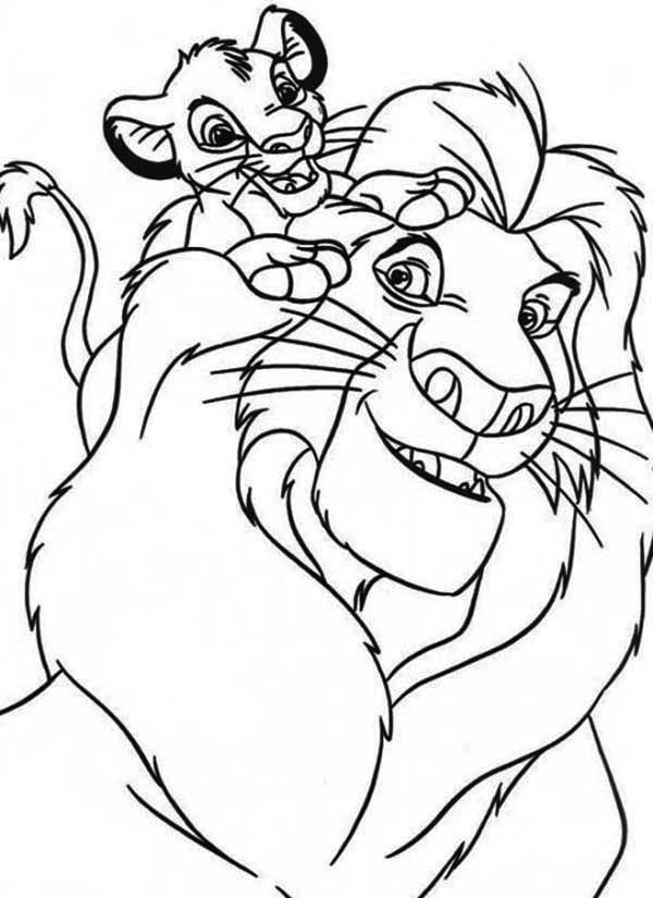 Simba And His Father Mufasa Coloring Page - Download
