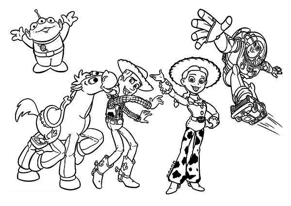 Some Of The Characters In Toy Story Movie Coloring Page