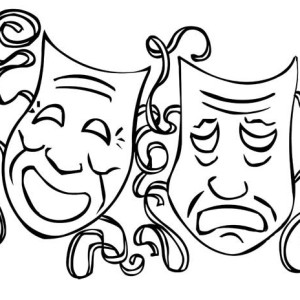 Comedy Tragedy Mask as Mardi Gras Symbol Coloring Page