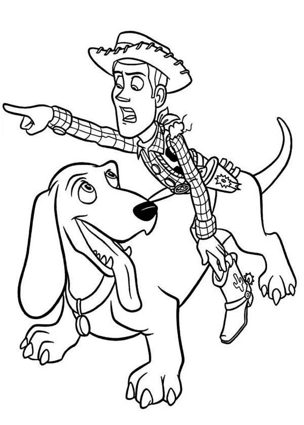 Woddy Riding Buster To Find Buzz In Toy Story Coloring
