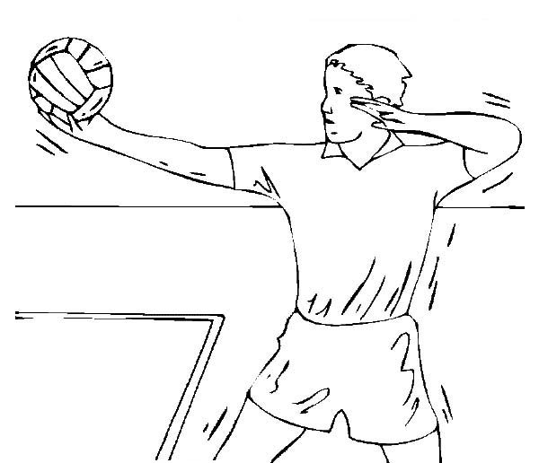 Male Volleyball Player Ready For Service Coloring Page