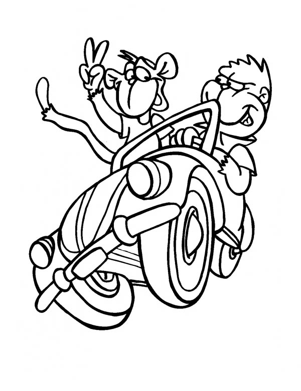 Monkey Driving A Car With A Friend Coloring Page