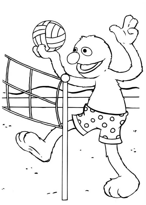 Sesame Street Elmo Play Volleyball Coloring Page