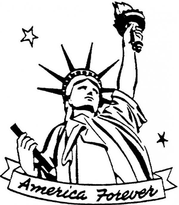 America Forever In Statue Of Liberty Coloring Page