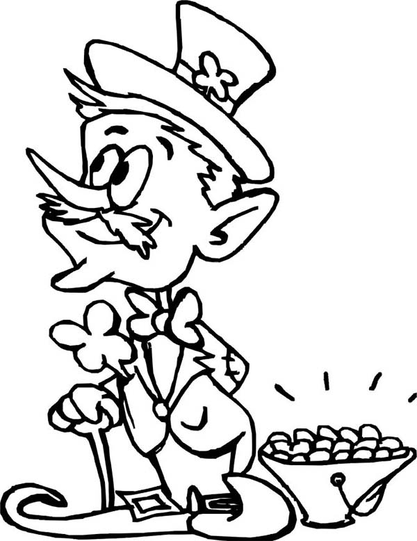 An Old Leprechaun and a Small Pot of Gold Coloring Page
