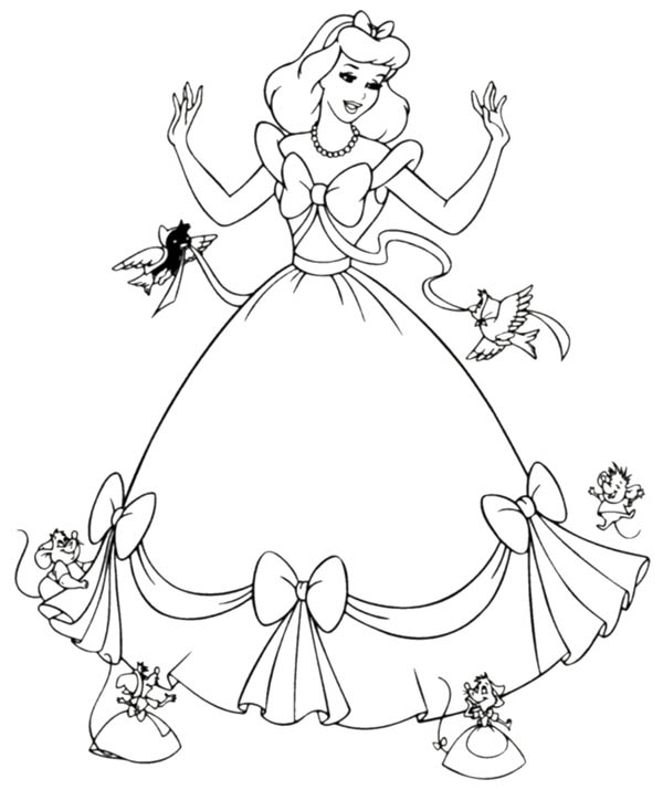Cinderella Helped By Her Friends In Cinderella Coloring