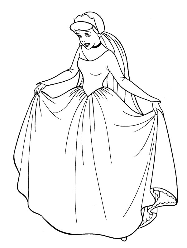 Cinderella In Her Wedding Dress In Cinderella Coloring
