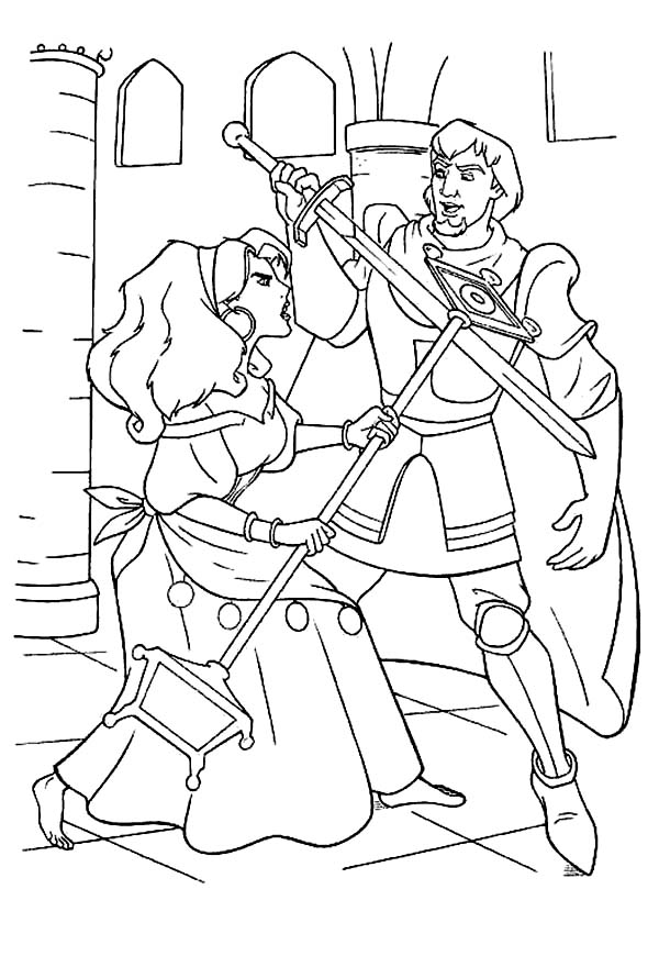Esmeralda Sword Fight With Phoebus In The Hunchback Of