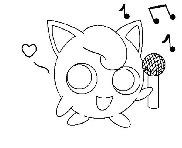 Jigglypuff Holding Microphone Coloring Page Download
