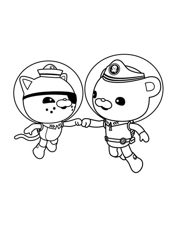 Kwazii and Captain Barnacles of The Octonauts Coloring