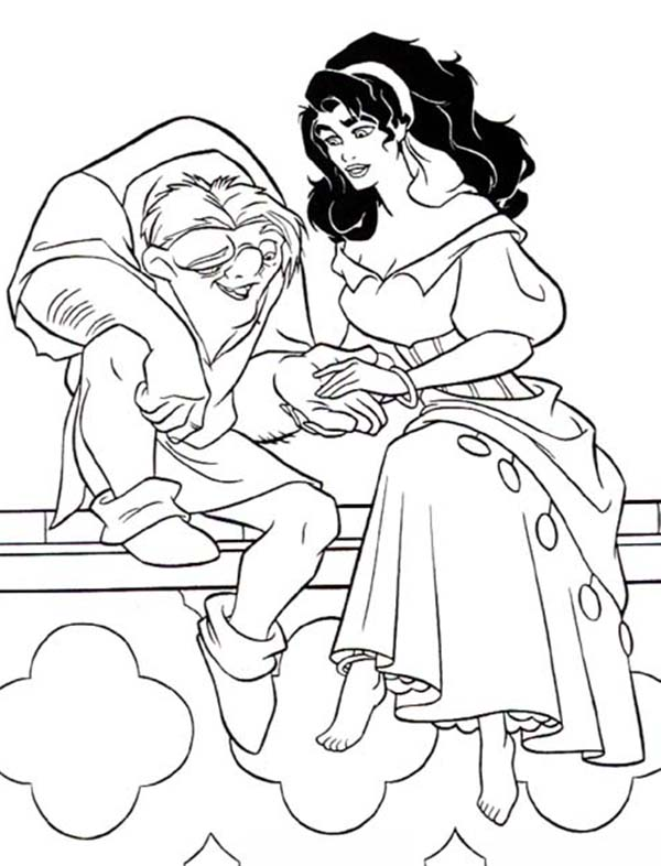 Quasimodo Holding Esmeralda Hand In The Hunchback Of Notre