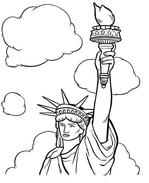 Statue Of Liberty And White Clouds Coloring Page