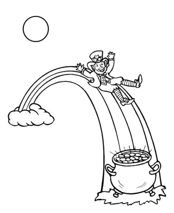 This Leprechaun Sliding Onto A Pot Of Gold Coloring Page