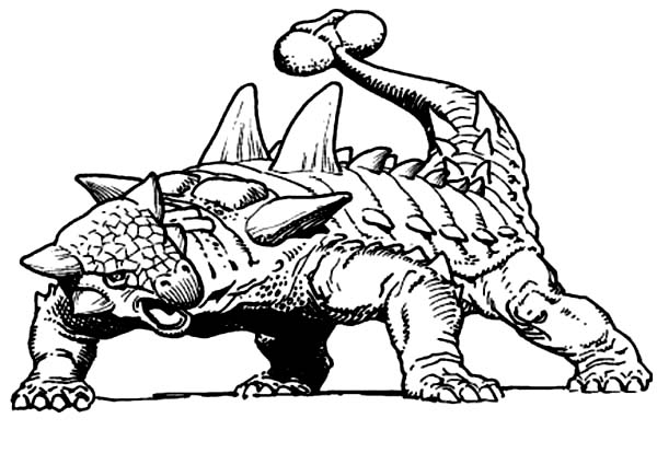 Ankylosaurus Threat With Club Tail Coloring Page
