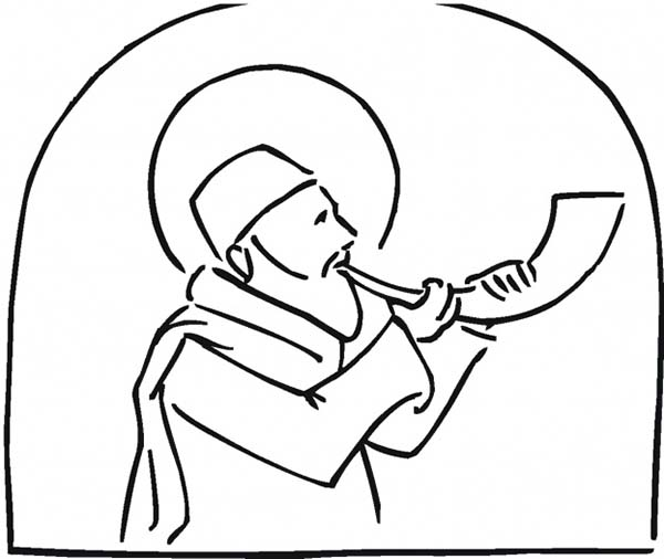 Feast Of Trumpets In Rosh Hashanah Coloring Page