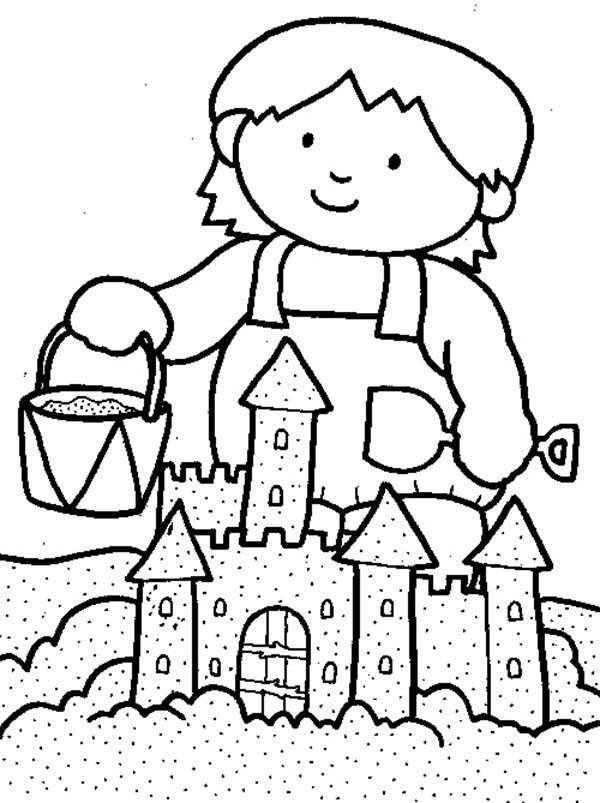 Kid Playing Sand Castle On The Beach Coloring Page