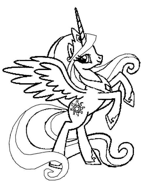 Princess Celestia Rearing In My Little Pony Coloring Page