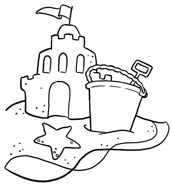 Sand Castle With Bucket And Shovel Coloring Page