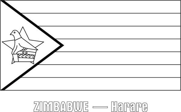 Zimbabwe Nation Flag Coloring Page Download Amp Print