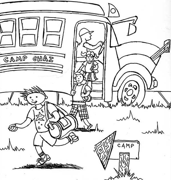 Arrived On Summer Camp Location With School Bus Coloring