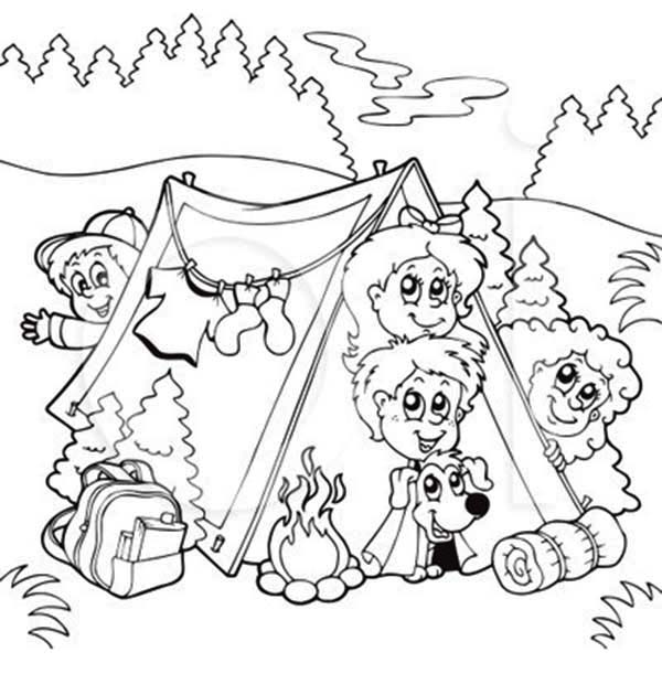 Bunch Of Kids And A Dog On Summer Camp Coloring Page